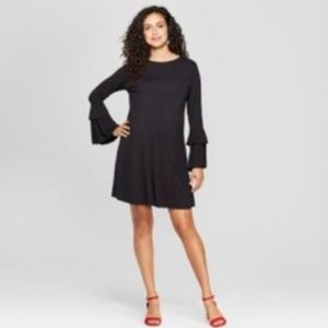 Isabel Maternity Black Ruffle Sleeve Short Dress